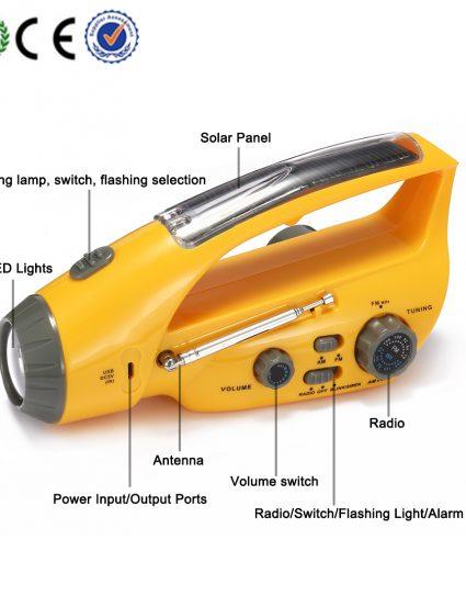 hand Winding charge Solar Flashlight Radio